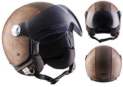 ARMOR Helmets AV-84 Casco Moto Demi Jet, Marrón/Ranger, S (