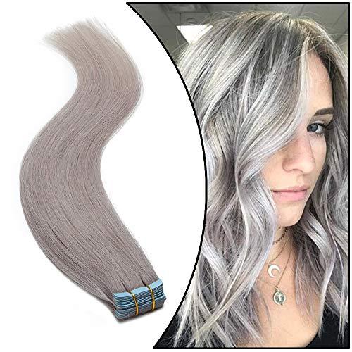 Elailite Biadesivo Extension Capelli Veri Adesive #Grey - 20 Fasce Biadesive 100% Remy Human Hair Naturali Tape Extensions 35cm 40g