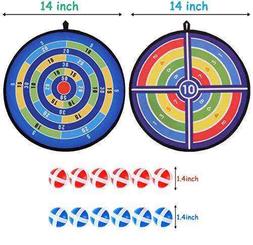 Queta Dartscheibe Kinder Wurfspiel mit 2 Klett Dartscheiben, 12 Klebebällen, Stoff Dartspiel Set für Kinder, für Innen und Outdoor, Durchmesser 36cm