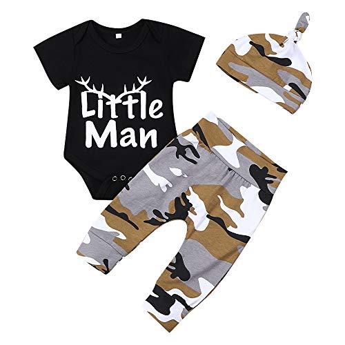 Neugeborene Baby Boy Kleidung Neu in der Crew 3pcs Outfits Strampler Hut Herbst Winter Camouflage Pants Sets (Schwarzer Kurzarm, 0-3 Monate)