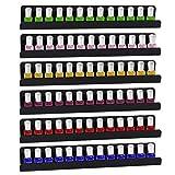 Dawoo Transparente Mehrzweck-Acrylregale von - Kann als Nagellack-Präsentationsständer, Aufbewahrungsregal für ätherische Öle (Schwarz, 5.5X40CM-6Pack)