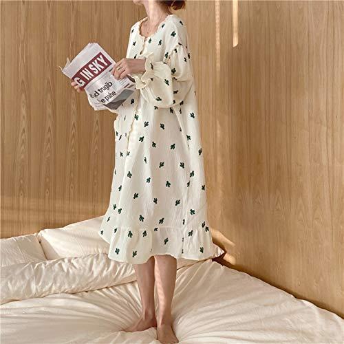 FLORVEY Pijama Conjunto de Pantalones de Manga Larga Elegantes con Cuello de muñeca de Cereza de Doble Hilo Dulce Encantador Conjunto de Pijamas Casuales Coreanos de algodón para Mujer