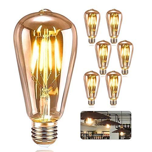 Piashow [6 Stück] Edison Glühbirne E27 ST64 4W, Leuchtmittel Globe Birne LED, Vintage Dimmbar Lampe , Amber Glas, Ideal für Nostalgie und Retro Beleuchtung Dekoration