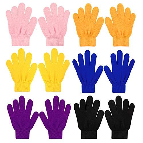 QKURT 6pcs Winterhandschuhe, Kids Magic Stretch Handschuhe Kinder Handschuhe Unisex Jungen Mädchen Stricken Vollfingerhandschuhe für den täglichen Gebrauch