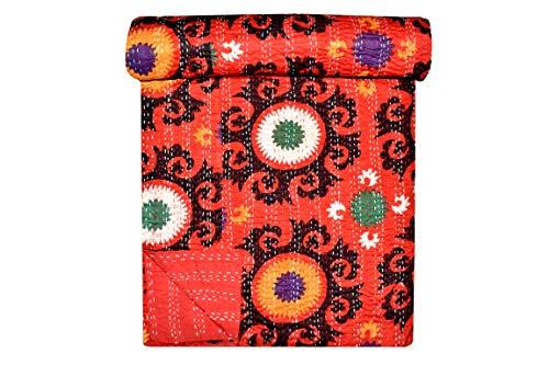 Indian-Shoppers Colcha Kantha 100% algodón impreso hecho a mano Suzani Impreso Colcha reversible doble tamaño cosido manta dormitorio decoración