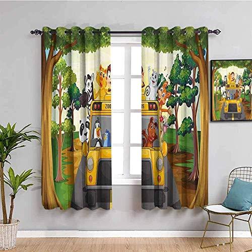 Nileco Cortinas de Opacas - Dibujos animados coche animal cebra gato - 280x200 cm - 3D Impresión Digital con Ojales Aislamiento Térmico - para Sala Cuarto Comedor Salon Cocina Habitación