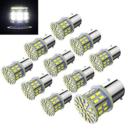 Efoxcity 12V 1156 10 Pack Bright 1156 1141 1003 50-SMD White LED Bulbs For Car Interior RV Camper light