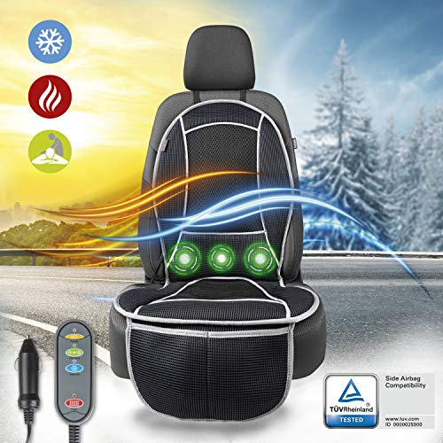 Walser 16650 Sitzauflage mit Heizung, Sitzaufleger mit Kühlung und Massagefunktion, CoolHeat Sitzheizung für PKW, LKW