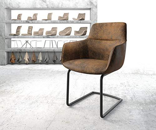 DELIFE Stuhl Pejo-Flex Freischwinger rund schwarz Vintage Braun
