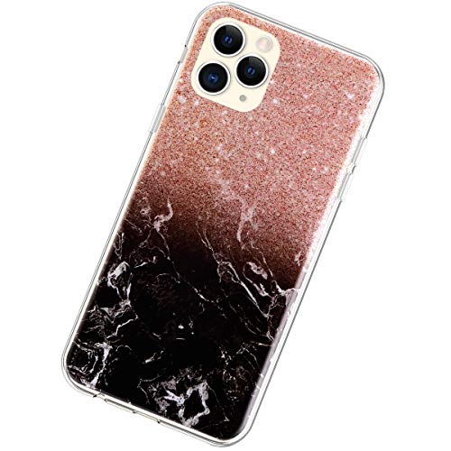 Coque Compatible avec iPhone 11 Pro Max 6.5,Marbre Pierre Créatif Motif Ultra Mince TPU Silicone Transparent Étui Housse Souple Crystal Poids léger Gel Antichoc Bumper Cover,Pierre Noire