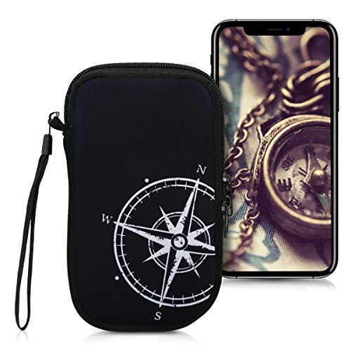 kwmobile Custodia in neoprene con zip per smartphone M - 5,5  - Astuccio portacellulare a sacchetto con cerniera - Borsa verticale - Bussola legno bianco nero