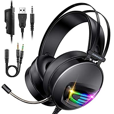 INSMART Gaming Headset, PS4 Headset Soft Memory Earmuffs Gaming Headphones with Mic RGB Light Volume Control for Laptop Mac Nintendo Switch New Xbox One PS4 by INSMART
