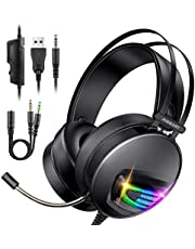INSMART PS4 Headset, PC Gaming Headset Auch für Nintendo Switch, Xbox One & Laptop, 3.5mm PS4 Kopfhörer mit Mikrofon, Surround Sound System & Extra 3,5mm Y-Klinkenadapter