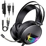 Auriculares Gaming PS4 Auriculares con Micrófono, INSMART Cascos Gaming con 3,5 mm Jack con Micrófono Flexible y Luz LED para PS4 PC Xbox One
