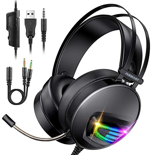 Auriculares Gaming PS4 Auriculares con Micrófono, INSMART Cascos Gaming con 3,5 mm Jack con Micrófono Flexible y Luz LED para PS4 PC Xbox One