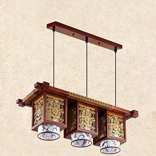 Lustre Salle à manger Chandeliers Restaurant Trois Carré Carré En Bois Massif Imitation Lampes En Cuir Style Chinois LED (Size : 26 * 36 * 88cm)