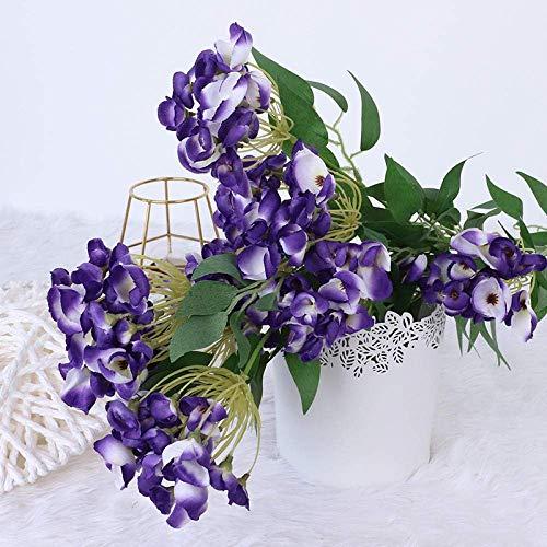 MWPO Flor Artificial Cara Flores Geranio para el hogar, Fiesta, decoración de la Boda decoración de Bricolaje 5 Palos-púrpura