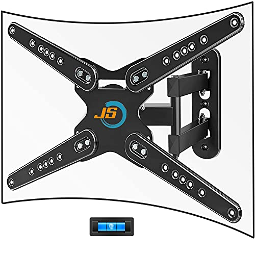 TV Wall Mount Full Motion for 28-80 Inch Up to 110 lbs to Flat & Curved TV, JUSTSTONE TV Bracket Heavy Duty Articulating Arm with Swivel Tilt Extend, Max VESA 600x400mm to LED LCD OLED etc