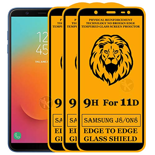 Kreatick 11D Edge to Edge Tempered Glass Screen Protector Compatible with Samsung Galaxy On8 (2018) [Pack of 3] Without Installation kit (Black)