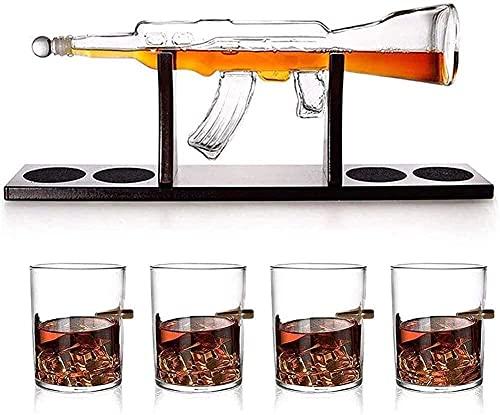 Gratis Decanter Set Reutilizable 1000ml Elegante Rifle Decantador de Whisky con 4 Gafas de Whisky de Bala y Base de Madera de Caoba Grande para Vodka, Licor, Whisky 3.17 (Color: Rifle, tamaño: 800ml)