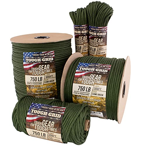 TOUGH-GRID 750lb Camo Green Paracord / Parachute Cord - Genuine Mil Spec Type IV 750lb Paracord Used by The US Military (MIl-C-5040-H) - 100% Nylon - 50Ft. - Camo Green