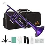 Eastrock Trumpet Standard Brass Bb Purple Trumpet Instrument with Hard Case,Five Legs Trumpet Stand,Gloves, 7C Mouthpiece, Valve Oil and Trumpet Cleaning Kit for Student Beginner