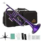 Eastrock Trumpet Standard Brass Bb Purple Trumpet Instrument with Hard Case,Five Legs Trumpet Stand,Gloves, 7C Mouthpiece, Valve Oil for Student Beginner