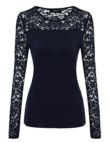 Zeagoo Damen Shirt mit Spitze Langarm Sexy Oberteile Langarmshirt Spitzenbluse Tunika Hemd für Herbst Winter,A_marine,S