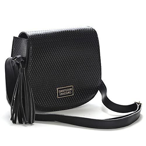 Bolsa Pequena Transversal Santorini Handbag (Preto)