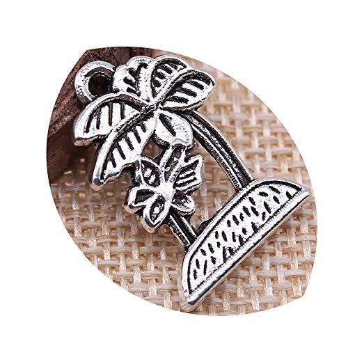 honggui 1111 – 10 colgantes de palma de coco para bricolaje, joyería de plata envejecida, 23 x 16 mm