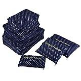 Panamar 6 unids/Set Bolsa de Almacenamiento de Viaje para Ropa ordenada Organizador Bolsa Maleta hogar Armario Divisor contenedor Embalaje Bolsa de lavandería-Punto Azul Oscuro
