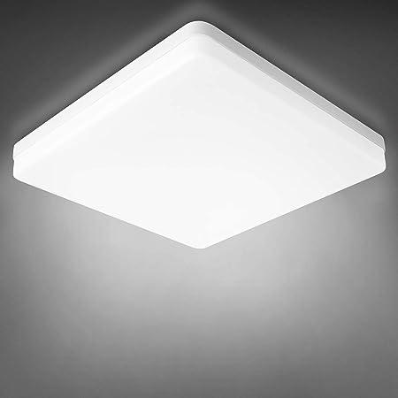 Combuh Plafonnier LED 20W Étanche IP56 2400LM Blanc Froid 6000K Carré Lumières de Salle de Bain Lampe de Plafond pour Extérieur, Salle de Bain, Bureau, Balcon, Garage 20 * 20 * 4CM