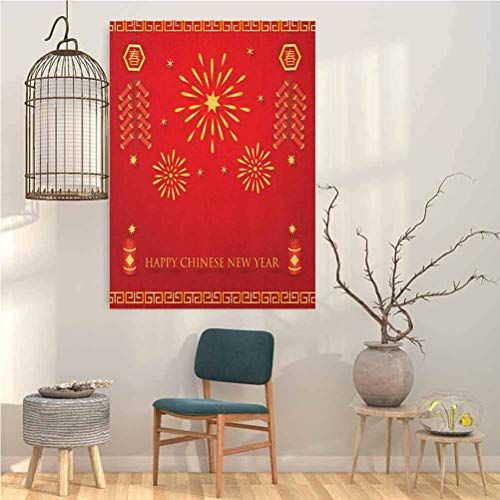 Jinguizi Chinese New Year Wall Hanging Celebration with Fireworks and Firecrackers Oriental Culture Personalized Wall Decals 20x28 Inch