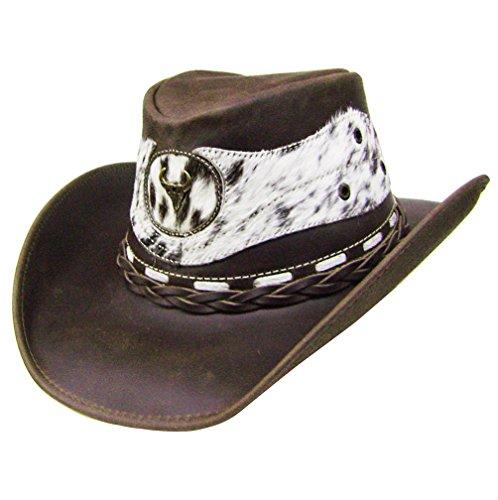 Modestone Unisex Leather Chapeaux Cowboy Hair on Cowhide Applique Brown