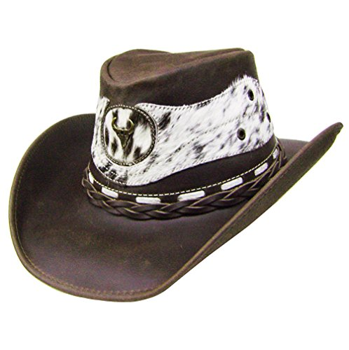 Modestone Unisex Leather Chapeaux Cowboy Hair on Cowhide Applique Brown