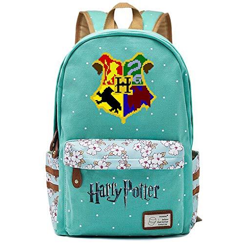 NYLY Harry Potter Blumenrucksack Hogwarts Rucksack, Jungen und Mädchen Mode Schultasche Notebook Tasche M (Hellgrün) Stil-14