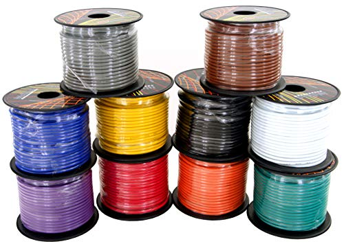 14 Gauge Copper Clad Aluminum Low Voltage Primary Wire in 10 Color Pack, 100 feet Roll (1000 feet Total) for 12V Automotive Harness Car Video Stereo Wiring. Also in 4 Color Set