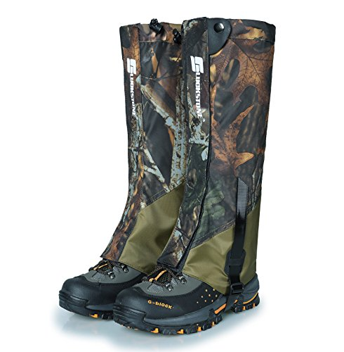 UNISTRENGH Outdoor Waterproof High Leg Gaiters Wear-Resistant Camouflage Snow Mountain Hiking Boot Gaiters Insect-Proof Protection Set Foot Leg Sleeve Cover (Maple Leaf Camo/Army Green)