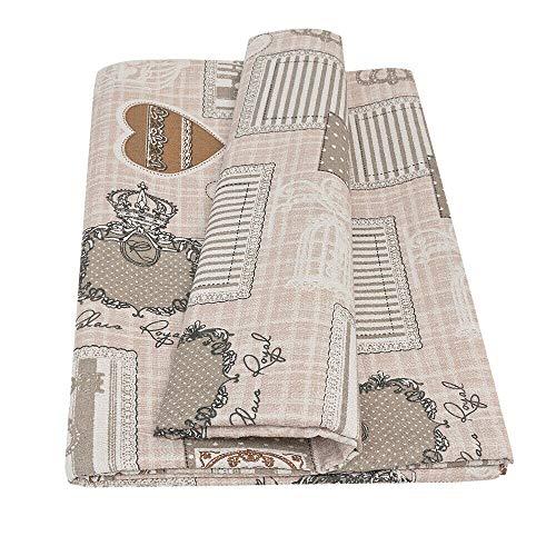 Telo Arredo Copritutto Cotone Copridivano Letto Casa Elegante Cuori Mod.GRAN FOULARD dis.170 170X280