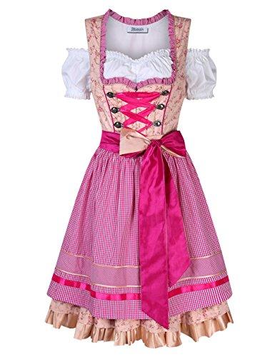 KOJOOIN Trachten Damen Dirndl Kurz - Midi Trachtenkleid für Oktoberfest - DREI Teilig: Kleid, Bluse, Schürze Champagner 40/XL
