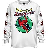 Marvel Spider-Man - Camiseta de manga larga para adulto (100% algodón, japonesa Kanji Comics, Blanco, Small