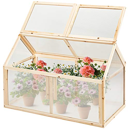GYMAX Wooden Cold Frame Greenhouse, Polycarbonate Shelter Transparent Flowers Vegetables Plants Growhouse with Openable Top Cover for Home, Backyard, Balcony and Patio (100cm x 53cm x 71cm)