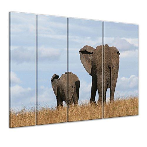 """Bilderdepot24 Cuadros en Lienzo""""Elefante madre y el niño"""" 180x120 cm 4tlg - listo tensa, directamente desde el fabricante"""