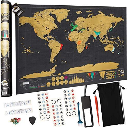 Weltkarte zum Rubbeln XXL, Devlop Rubbel Landkarte - Poster zum Freirubbeln - Markiert mit dem Gelände und dem Klima + Enthält eine personalisierte Deluxe-Geschenkröhre (84 x 42 cm,Viel Zubehör)