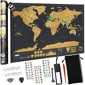 devlop Mapa para Rascar del Mundo, Mapa del Mundo XXL 825 * 594mm - Paquete de Regalo - Incluye una Herramienta para rascar con precisión y Pegatinas de Recuerdo de Viajes viajeros
