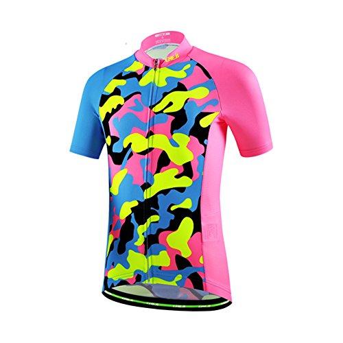 LSHDCER Kinder Radsport Bekleidung(Fahrrad Trikot Kurzarm/Radhose), Trikot-Camouflage fluoreszierend Rosa, 116(Herstellergröße: M)
