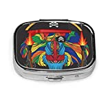 Africa Face of Pirate Monkey Mandrill Guns and Hat Line Square Pill Box Decorative Boxes Pill Case Medicine Tablet Holder Wallet Organizer Case for Pocket Or Purse