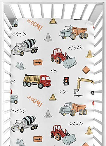 Sweet Jojo Designs Construction Truck Boy Fitted Crib Sheet Baby or Toddler Bed Nursery – Grey Yellow Orange Red and Blue Transportation