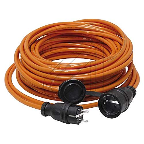 Colours-Manufaktur Verlängerungskabel für den Außenbereich/Innenbereich * Verschiedene Modelle, Farben und Längen wählbar * (orange Schuko (IP 44 - Außen), 25 m)