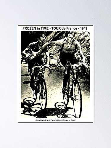 AZSTEEL Poster Tour De France Vintage 1949 Gino Sharing Drink con stampa Fausto